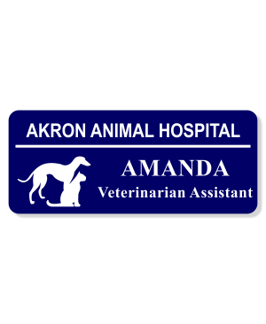 Veterinary Rectangle 3 Line Name Badge B