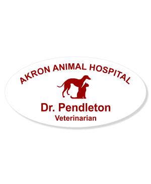 Greyhound with Cat Veterinary Oval Name Tag