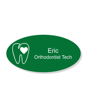 Heart Tooth Engraved Orthodontist Dentist Name Tag