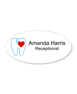Heart Tooth Oval Dentist Name Tag