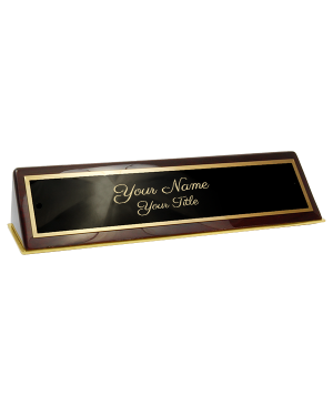 "Rosewood Piano Finish Desk Name Plate Script Font  2"" x 10"""