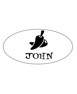 Oval 1 Line Mexican Restaurant Name Badge B