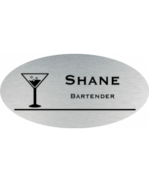 Martini Glass Oval Bar & Wine Name Tag