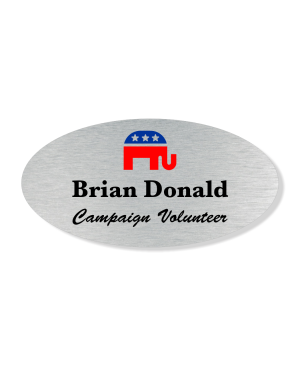 Oval Color Elephant Political Name Tag