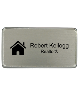 3 x 1.5 inch Real Estate Rectangle Name Badge w/ Holder