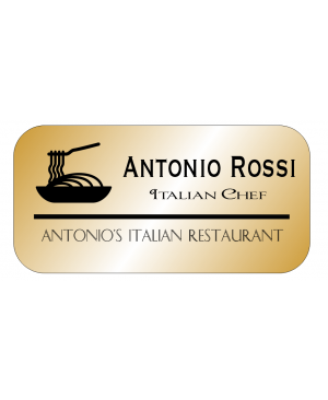 3 Line Italian Restaurant Rectangle Name Badge A