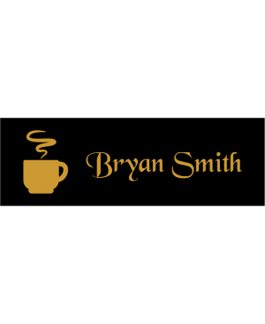 Steaming Coffee Cup Rectangle Coffee Shop Name Tag