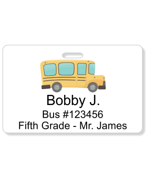 Student Bus Number Horizontal ID Card