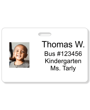 Student Bus Number Horizontal Photo ID Card