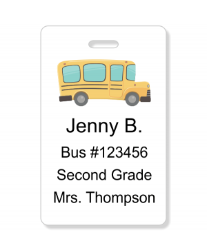 Student Bus Number Vertical ID Card