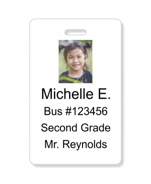 Student Bus Number Vertical Photo ID Card