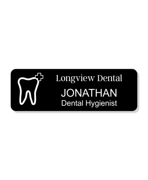 Dental Tooth 3 Line Name Badge