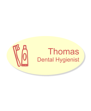 Toothbrush and Toothpaste Oval Dentist Name Tag