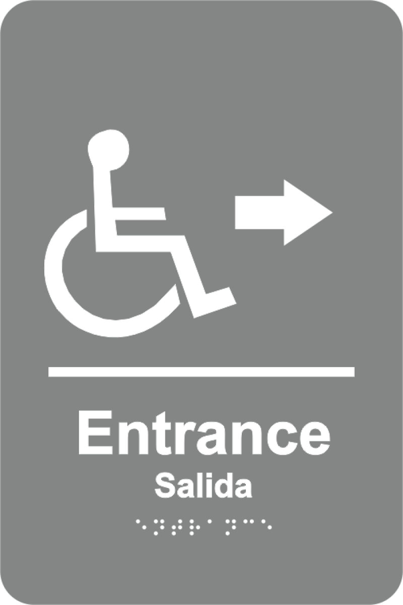Braille Handicapped Entrance Sign Arrow w/ Spanish