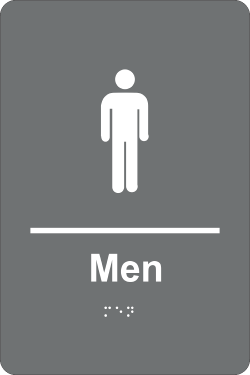 Braille Men's Restroom Sign in Grey