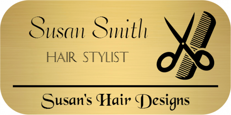 Hair Salon 3 Line Rounded Rectangle Name Badge A