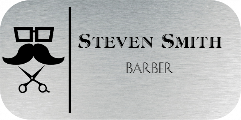Barber Shop 2 Line Rounded Rectangle Name Badge