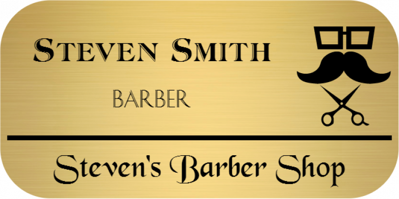 Barber Shop 3 Line Rounded Rectangle Name Badge