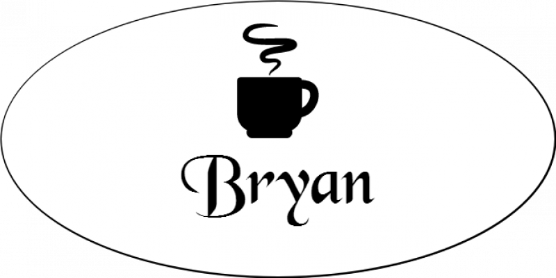 Steaming Coffee Cup Oval Coffee Shop Name Tag