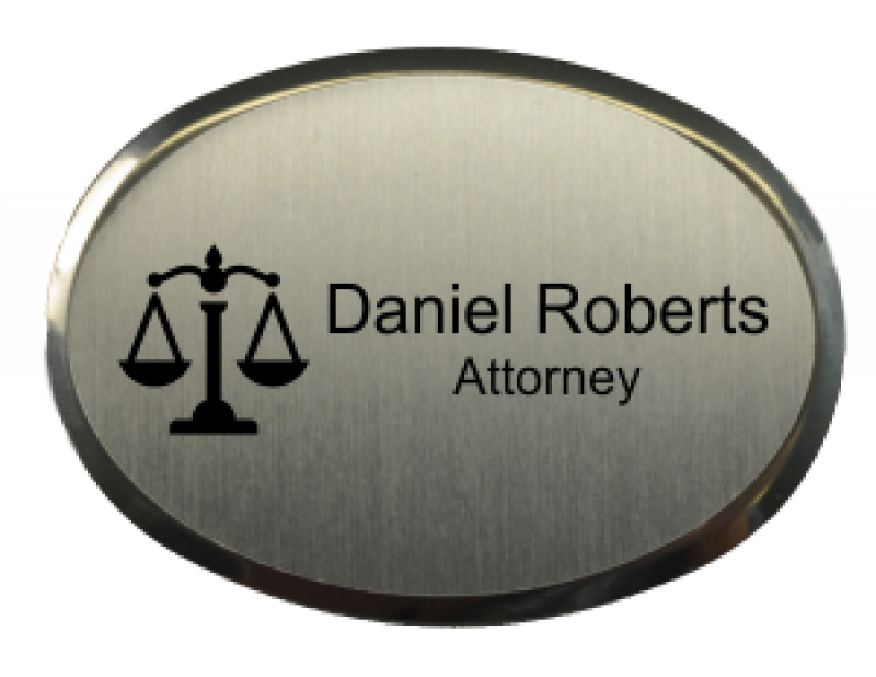 2.5x1.75 inch Law Office Oval Name Badge w/ Holder