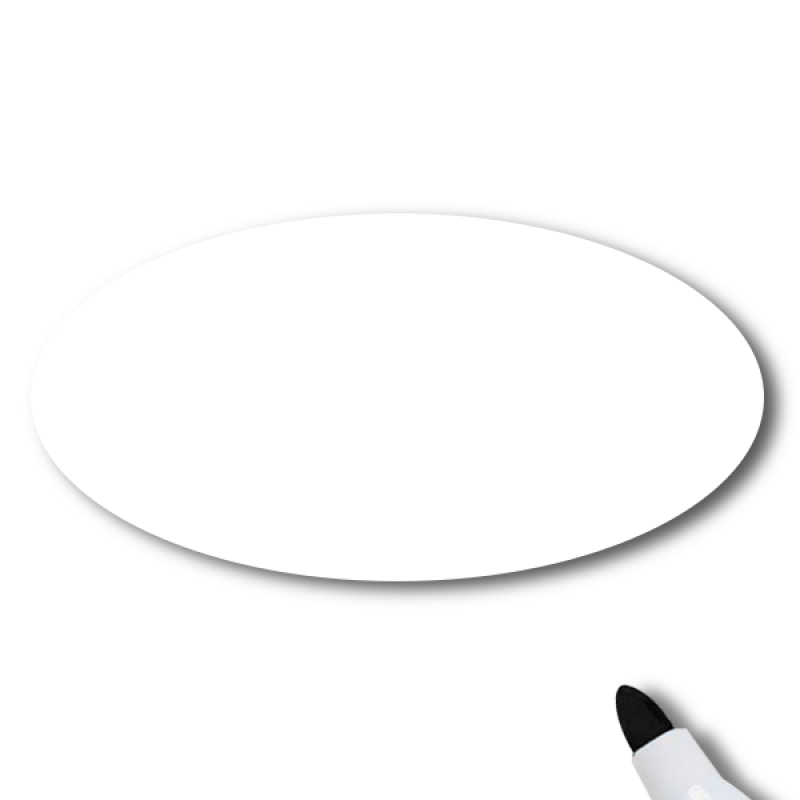 Reusable Dry Erase White Oval Name Tag