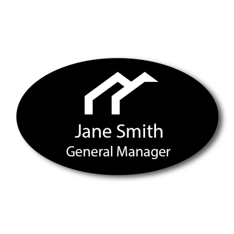 """Laser Engraved Oval Name Tag - 1.75"""" x 3"""""""