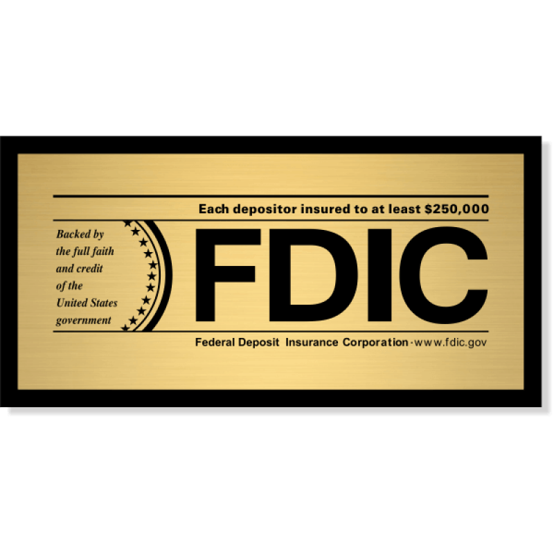 "FDIC Sign for Banks & Financial Institutions | 4"" x 8"""