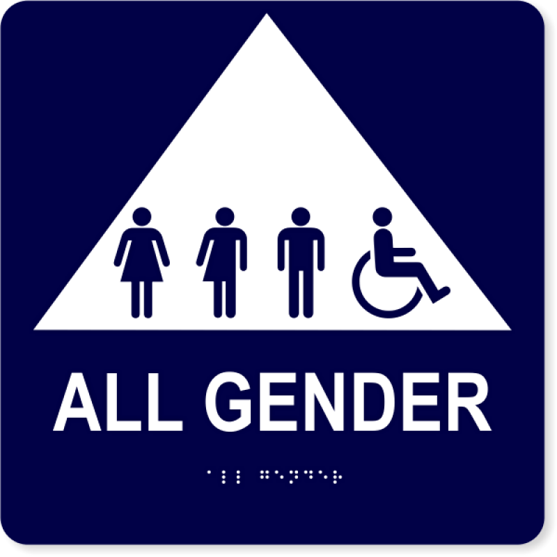 "All Gender Triangle with Symbols - ADA Tactile Sign | 10"" x 10"""