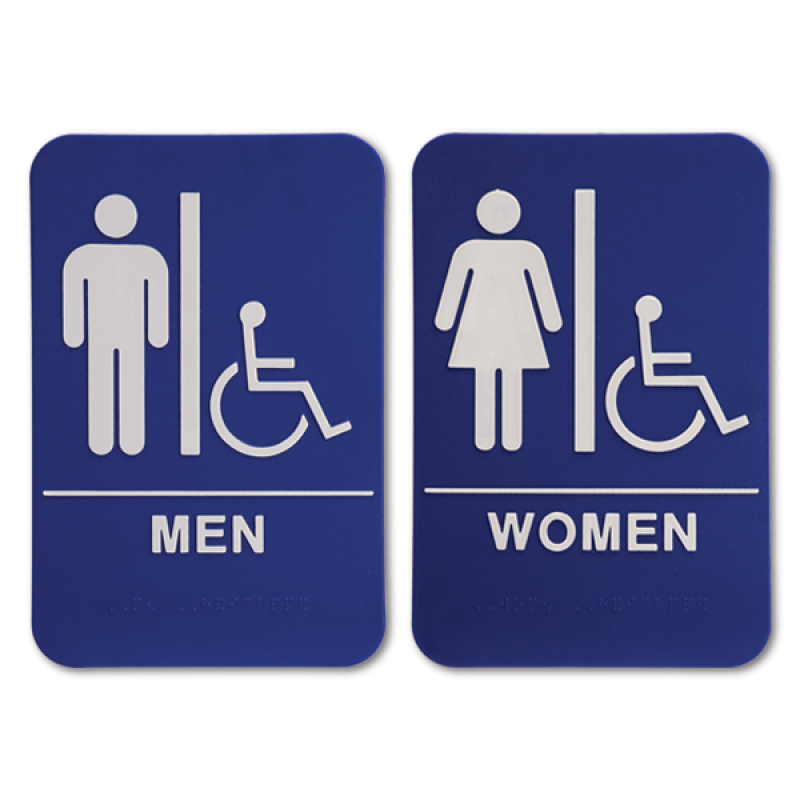 "Blue ADA Braille Men's & Women's Handicap Restroom Sign Set | 9"" x 6"""