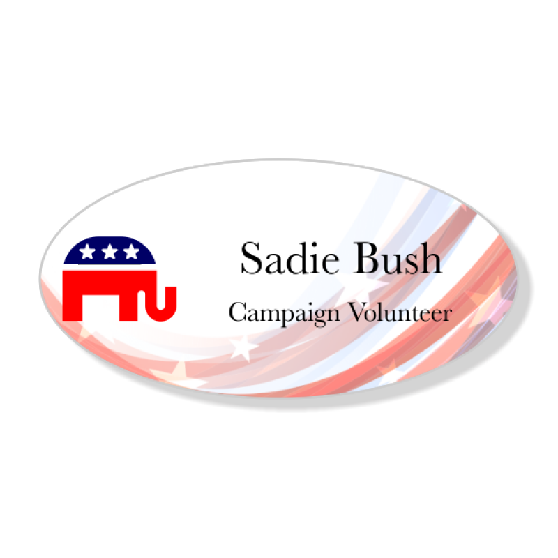 Abstract Swoosh Oval Conservative Plastic Political Name Tag