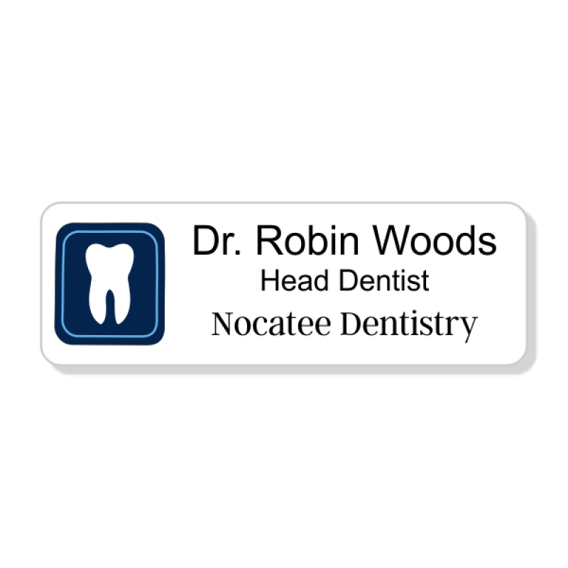 Dental Boxed Tooth Blue 3 Line Name Badge