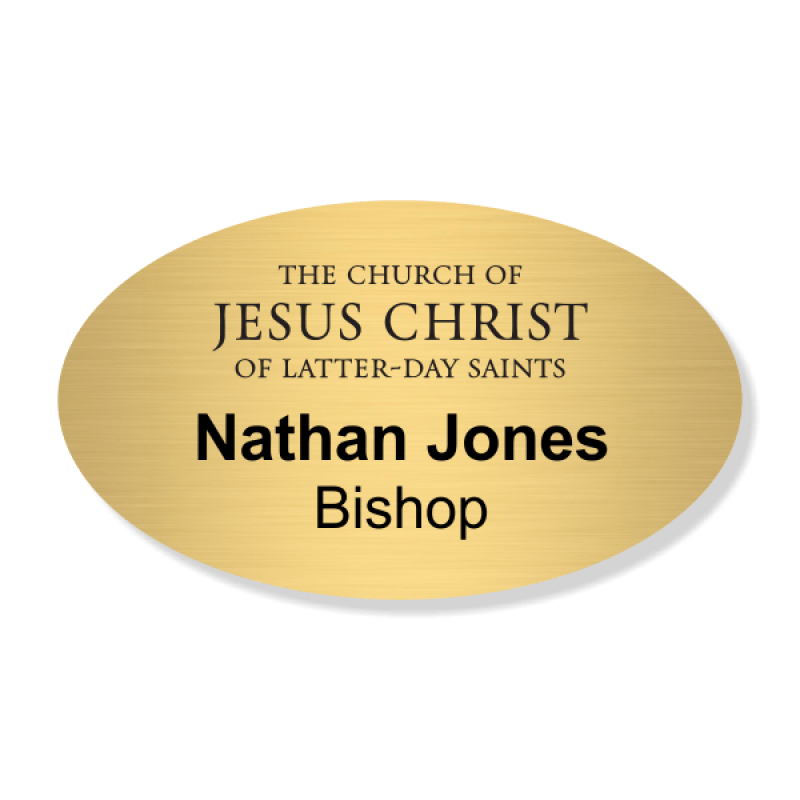 Church of Latter Day Saints Full Color Name Tag - Oval