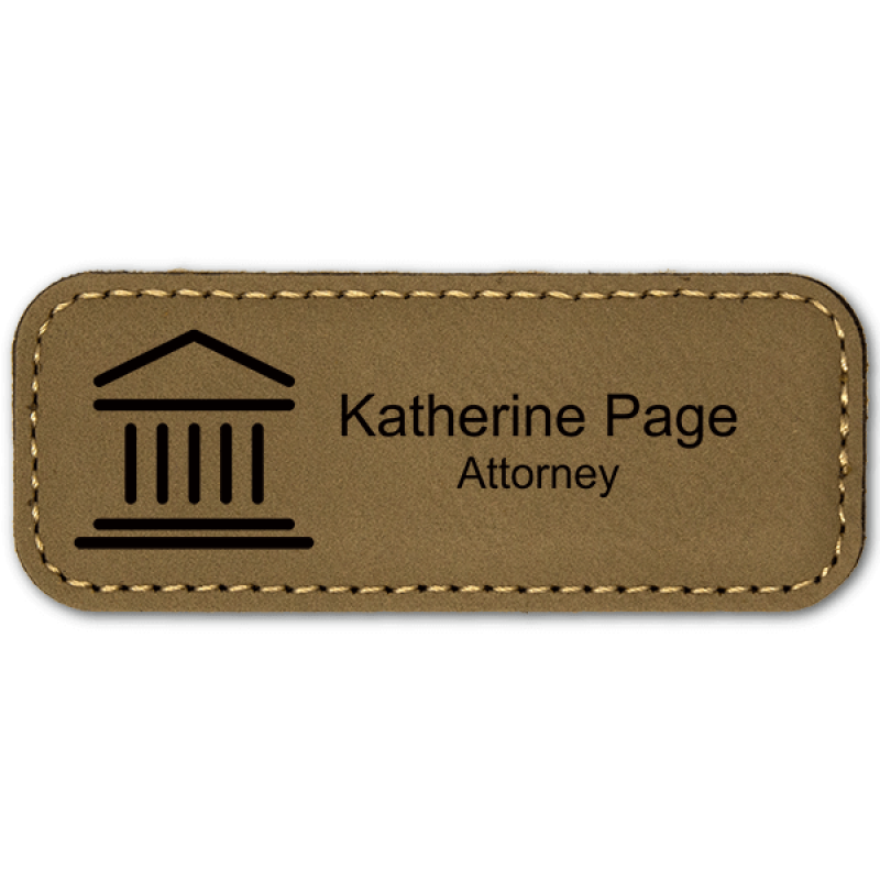 Courthouse Leatherette Law Office Name Tag