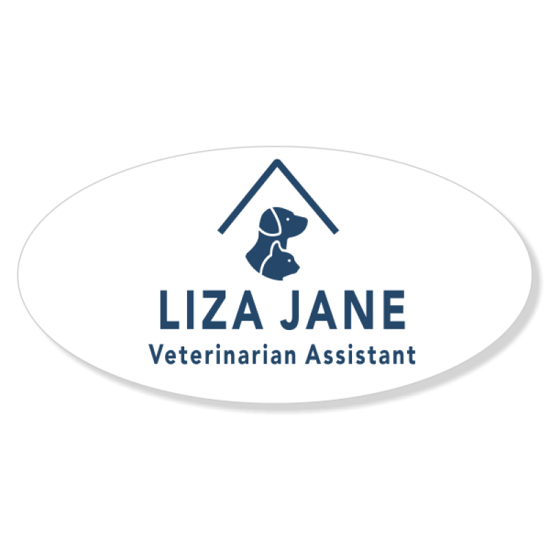 Dog and Cat Under Roof Veterinary Oval Name Tag