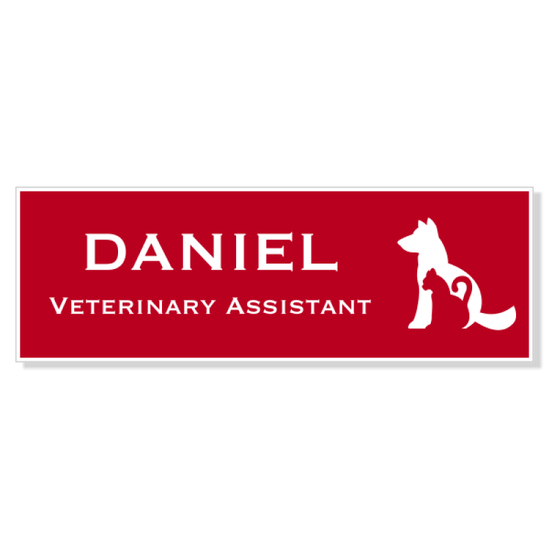 Dog Cat Outline Engraved Veterinary Name Tag
