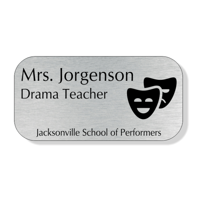 School Teacher Double Mask 4 Line Name Badge