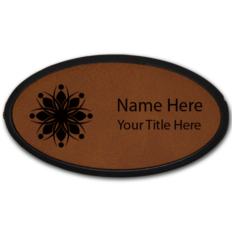 Magnetic Leatherette Name Tag with Frame - Oval
