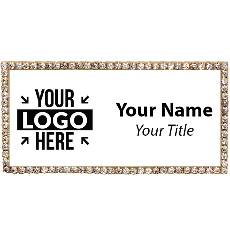 Gold and White Bling Name Tag