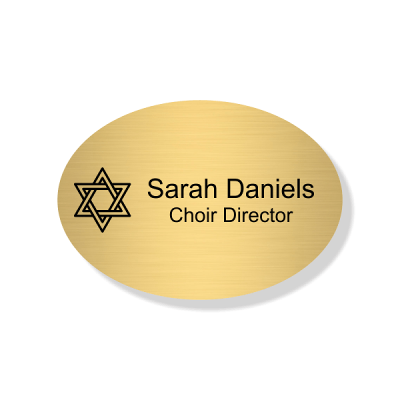 Jewish Faith Engraved Name Tag - Oval
