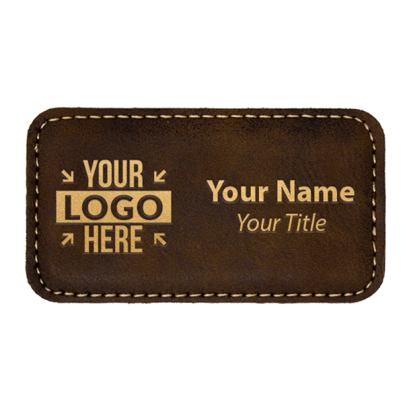 """Leatherette Rectangle Magnetic Name Tag - 1.75"""" x 3.25"""""""