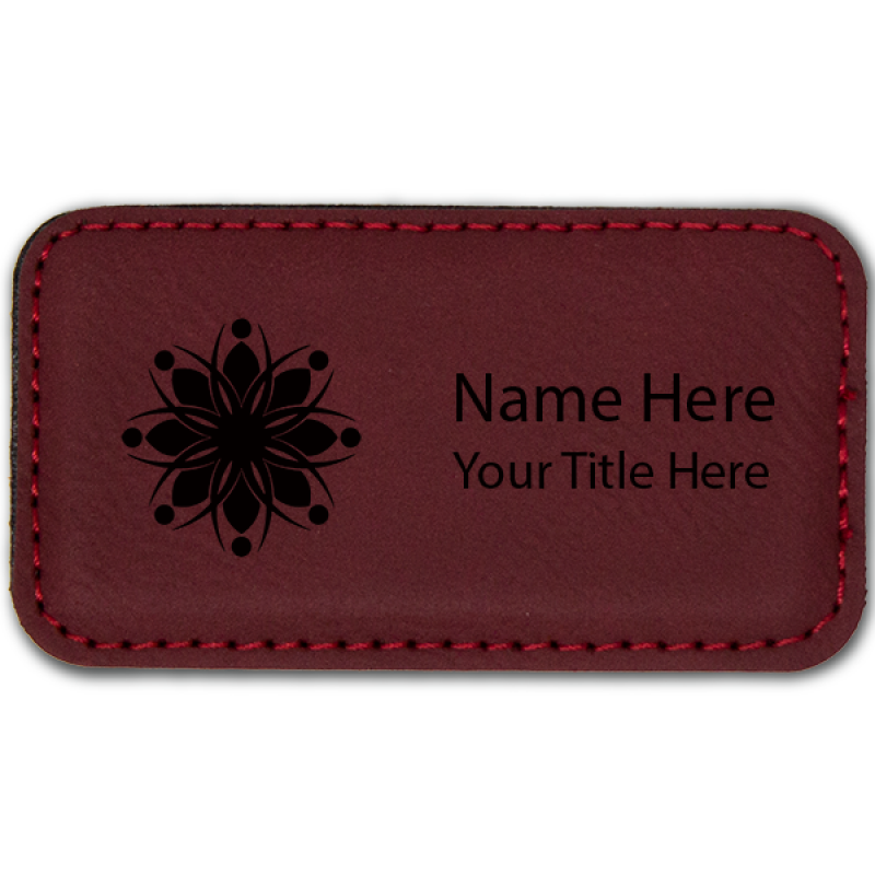 Magnetic Leatherette Name Tag - Rectangle
