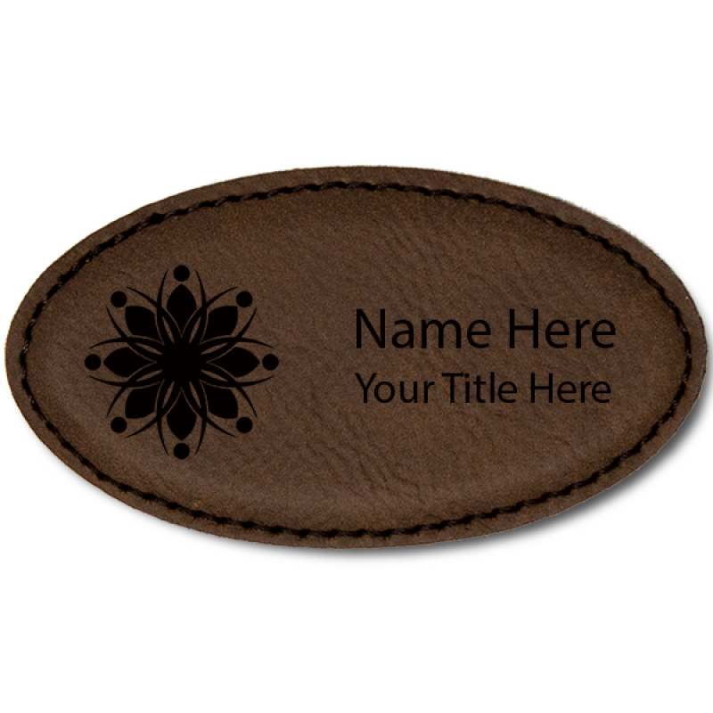 Magnetic Leatherette Name Tag - Oval