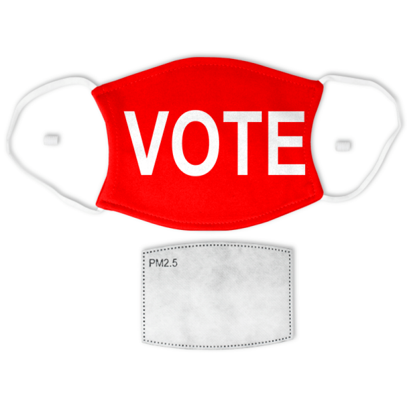 """Red """"VOTE"""" Adult Size Face Mask"""