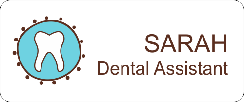 Dental Fancy Tooth 2 Line Name Tag