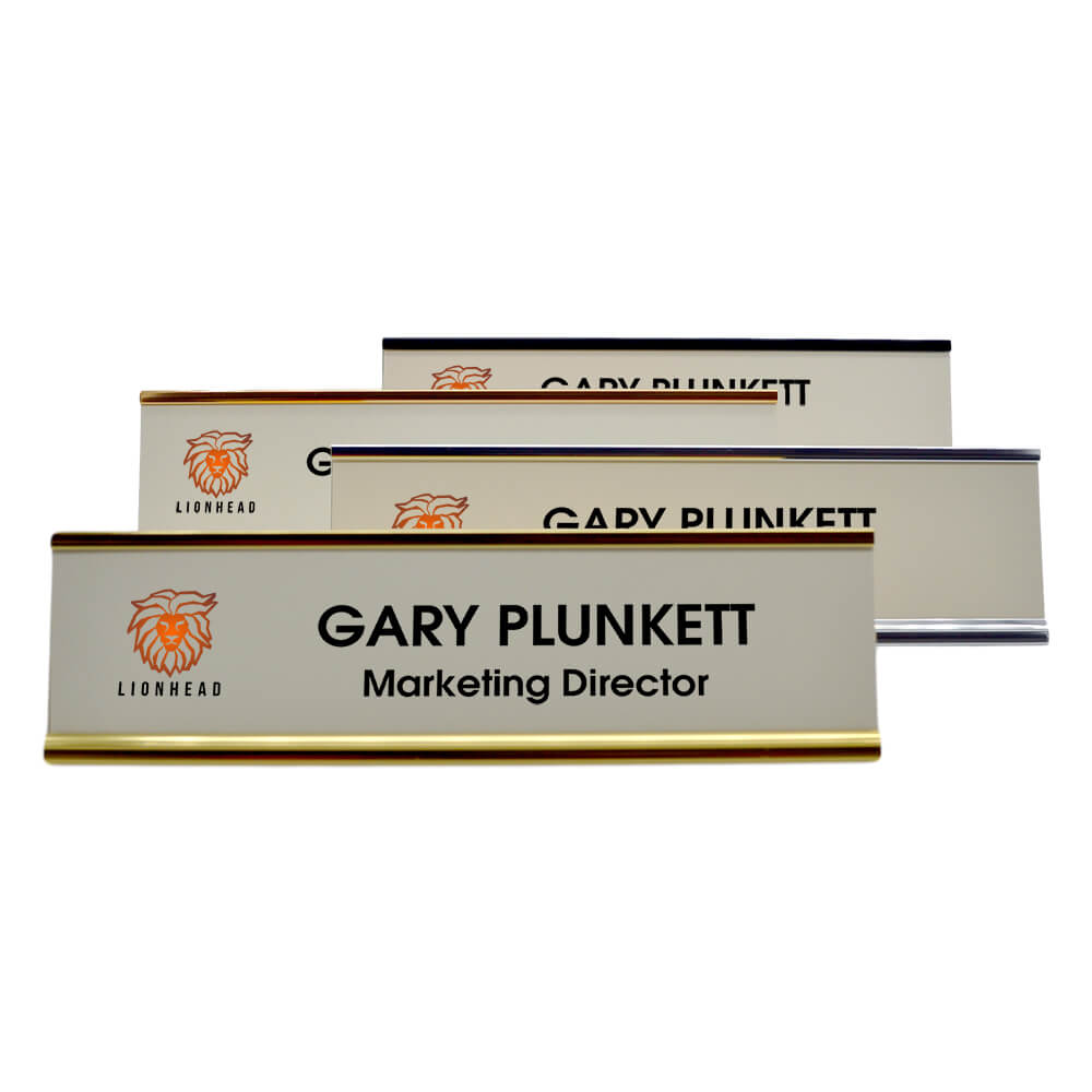 Small Full Color Desk Plate W Logo Amp Holder Name Tag Wizard