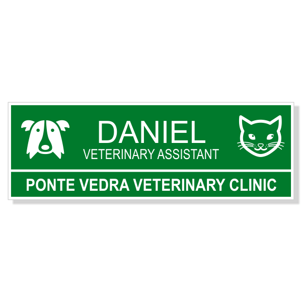 Dog and Cat Heads Veterinary Name Tag