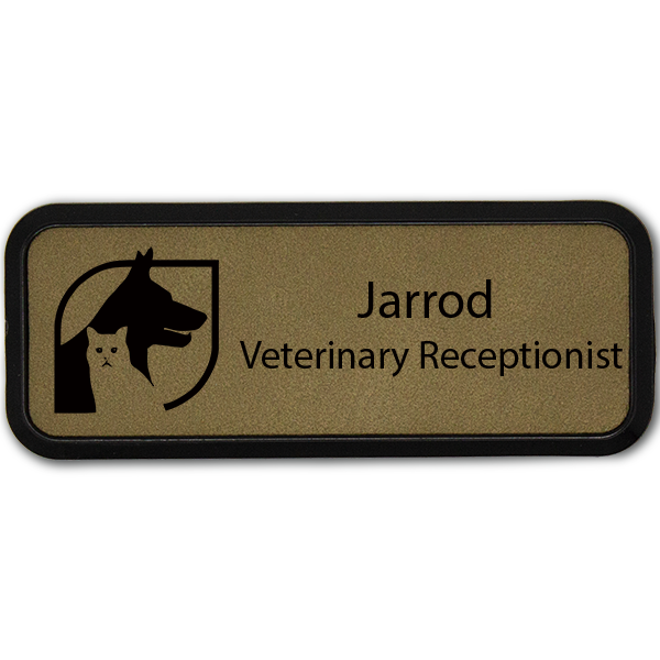 Dog and Cat With Box Veterinary Leatherette Name Tag