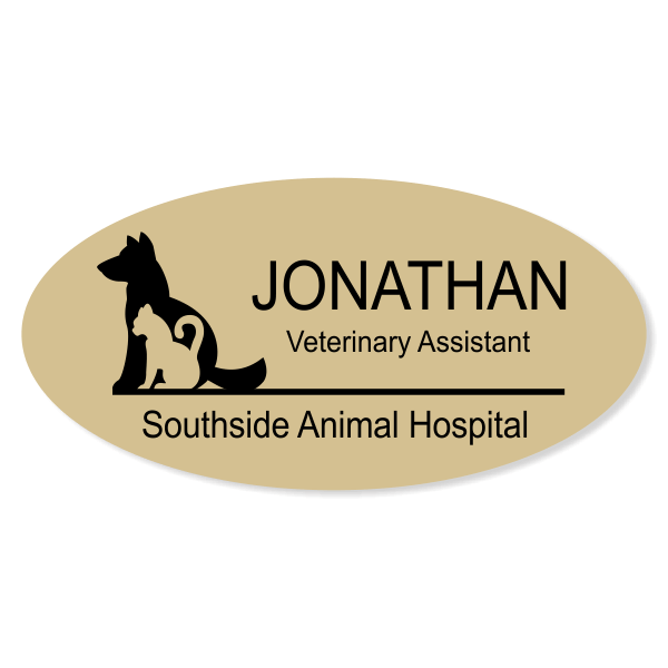 Dog Cat Outline Engraved Veterinary Oval Name Tag