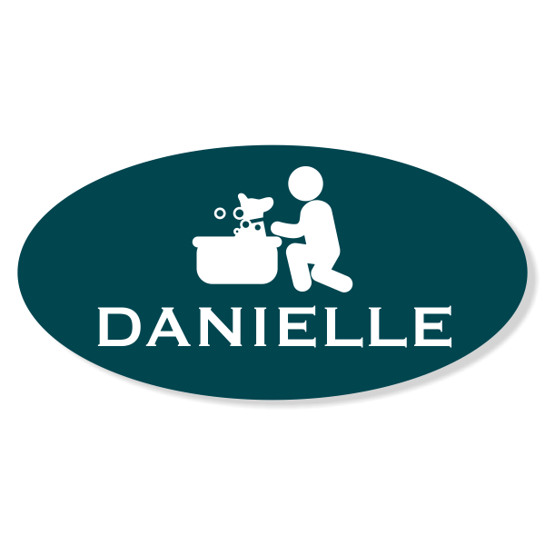 Dog In Bath Pet Grooming Oval Name Tag