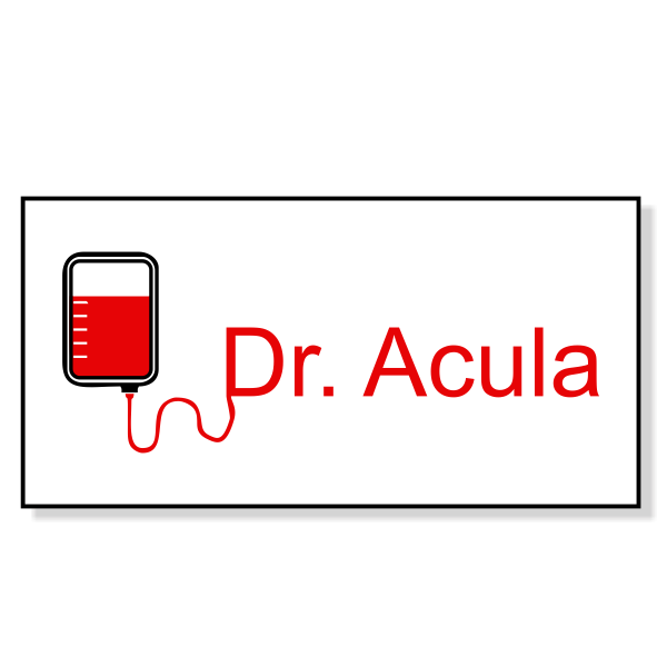 Dr Acula Costume Name Tag